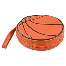 Orange Black Basketball Pattern Zippered Round Case 20 Pieces Capacity DVD CD Holder Bag