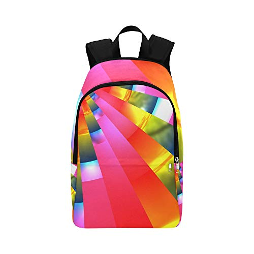 (YUMOING Pattern Rainbow Rays Design Texture Casual Daypack Travel Bag College School Backpack for Mens and Women)