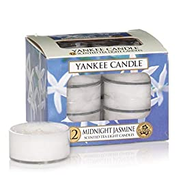 Yankee Candle Tea Light Scented Candles, Midnight Jasmine, Pack of 12