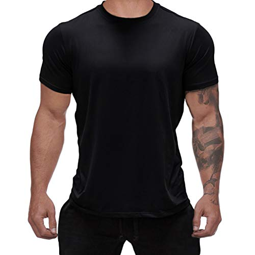 Magiftbox Mens Workout Gym Tee Short Sleeve Training Basic Casual T-Shirts for Bodybuilding Jogging T18_Black_US-M ()