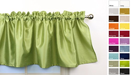 Aiking Home Solid Faux Silk window Valance, Green-Size 56''x