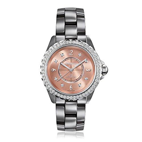Chanel Chanel J12 Cromática Diamantes Color de rosa Dial Titanio Cerámica Damas Reloj H2564