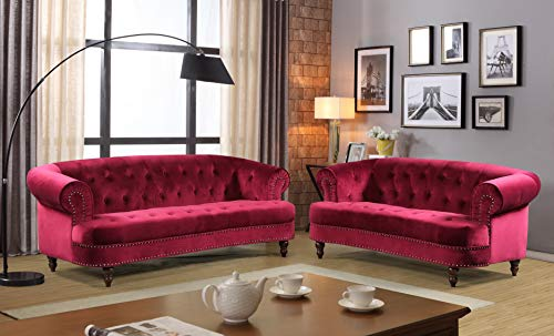 Container Furniture Direct S5402-2PC Vivian Modern Velvet Upholstered Nailhead Trim 2 Piece Living Room Set, Red