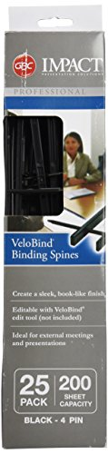 GBC VeloBind Easy-Editing Reclosable Binding Spines, 4 Pin Spines, Black, 200 Sheet Capacity, 25 Spines (9741630)