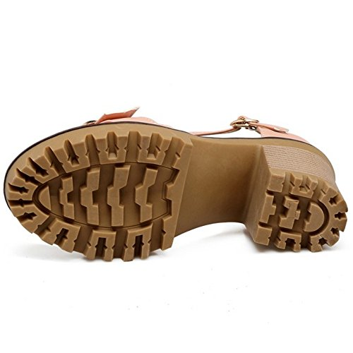 COOLCEPT Mujer Moda Al Tobillo Sandalias Cerrado Tacon Ancho Plataforma Zapatos Rosado