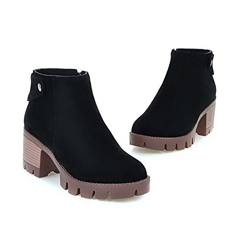 Heels high Women's Solid WeenFashion Suede 43 Zipper Boots Kitten Ankle Imitated Black t4WnqOA