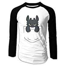 Pocket Dragon Toothless Black Men's Crew Neck Matching T Shirts