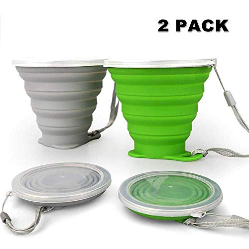 JBER Silicone Collapsible Travel Cup, Silicone Folding Camping Cup with Lids Expandable Drinking Cup Set BPA Free Reusable Portable Graduated for Outdoor Hiking Travel (2 Pack, Grey & Green)
