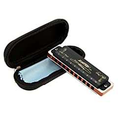 East top Harmonica Key of A 10 Hole 20 Tone Diatonic Blues Harmonica Mouth Organ with Case Top Grade for Professional Player,Beginner,Students,Children,Kids Birthday Gift This is an elegant harmonica designs for both professional players and ...