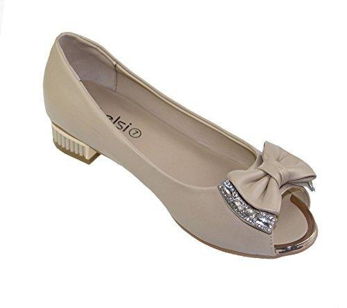 KOLLACHE Damen Toe Flat Open Casual Schleife Ballerinas Schuhe Pumps Sandalen mit Strass Beige