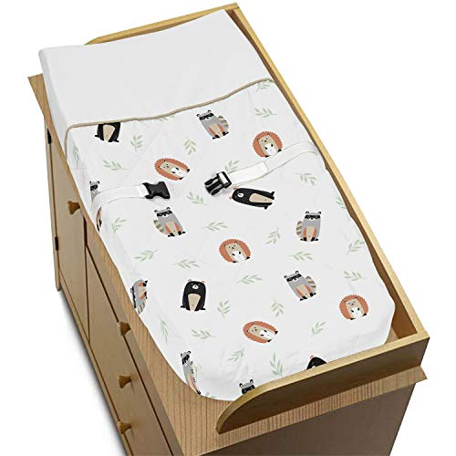 Sweet Jojo Designs Bear Raccoon Hedgehog Forest Animal Unisex Boy or Girl Baby Nursery Changing Pad Cover for Woodland Pals Collection - Neutral Beige, Green, Black and Grey (Pad Linen Cover Changing)