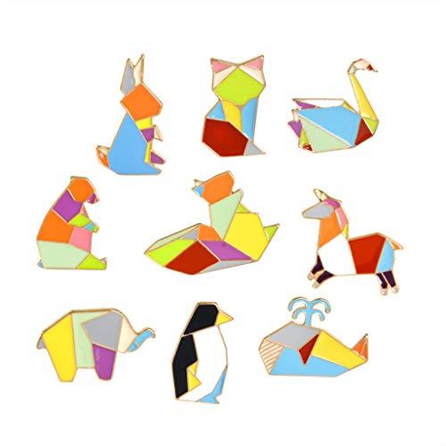 Cute Enamel Pins Sets Cartoon Animal Brooches Pin Sets Badges for Clothing Bags Backpacks Jackets Hat DIY (Geometric Colorful Animals) ()