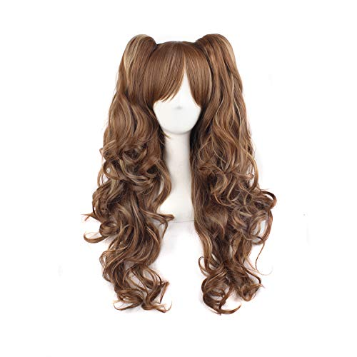 - MapofBeauty Multi-color Lolita Long Curly Clip on Ponytails Cosplay Wig (Brown/Khaki)