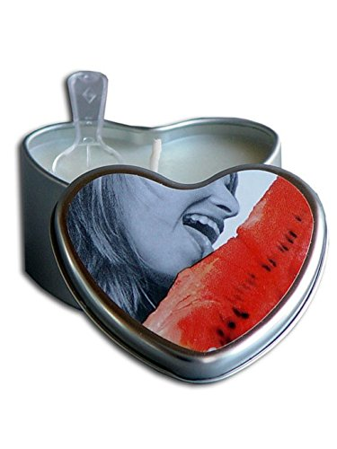Earthly Body Edible Massage Heart 3-in-1 Candle (Aroma Candle, Moisturizer, Massage Oil) - Watermelon