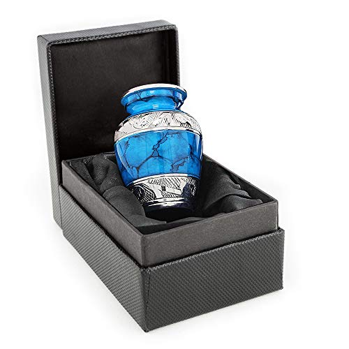Forever Remembered Blue Small Mini Cremation Keepsake Urn for Human Ashes - Qnty 1 - Beautiful and Timeless Find Comfort Everytime You Look at This High Quality Urn - with Satin Lined Case