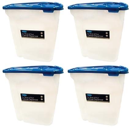 Dispensador de cereales de plástico x4 caja de alimentos almacenar y verter 5 L recipiente hermético