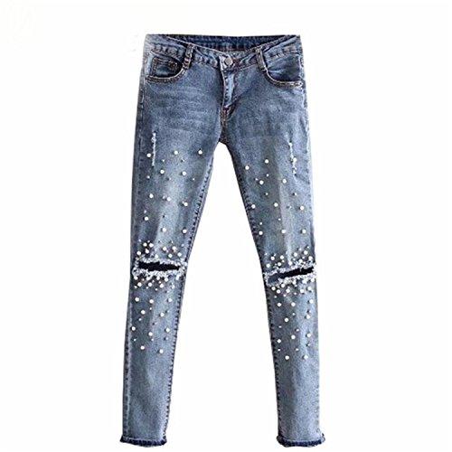 Pearl Blue Toronto (Naomiky Women Stretch Denim Pencil Pants Casual Slim Fit Rivet Pearl Jeans Summer Long Trousers Low Waist Cowboy Blue 30)