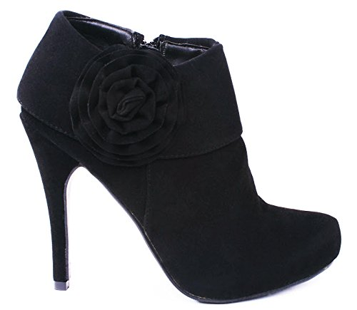 JJF Shoes Safari Black Faux Suede Folded Cuff Flower Zipper Dress Stiletto heel Ankle Booties-7.5
