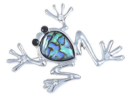 Alilang Silvery Tone Blue Green Abalone Colored Stone Frog Toad Brooch Pin