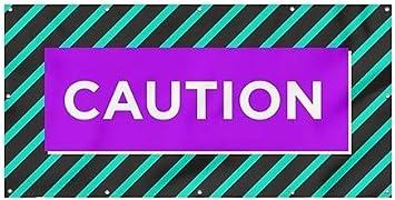 8x4 Modern Block Heavy-Duty Outdoor Vinyl Banner CGSignLab Caution