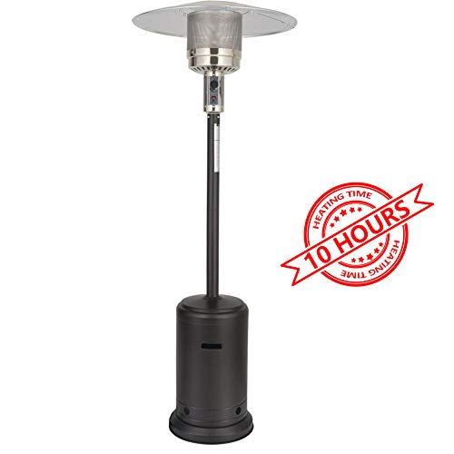 PAZINGA 46000 BTU Propane Patio Heater with Sandbox and Wheels, 87″ Tall, Mocha, Long Time Heating.