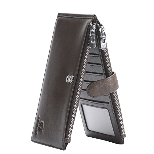 Fashion Leisure Cow Leather (PEIUJIN RFID Blocking Men's Genuine Soft Cow Leather Long Purse Mens Wallet Money Clip (Brown))