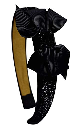 Girls Sparkle Glitter Arch Headband with Grosgrain Bow By Funny Girl Designs -