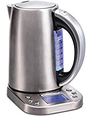 Hamilton-Beach 41028 Professional Electric Kettle with Digital Controls, 6 Preset Temperatures, LCD Screen, 1500 Watts Silver