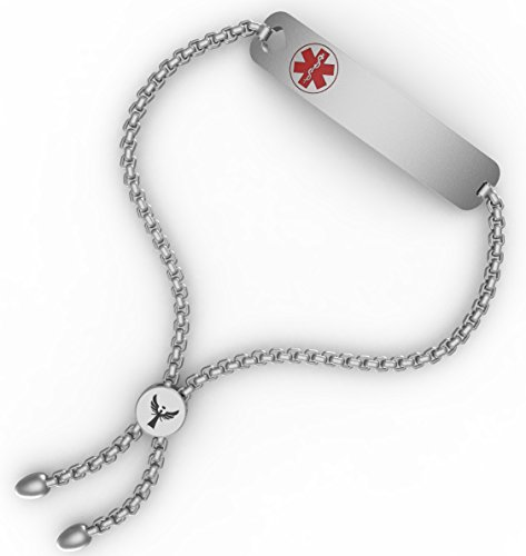 WelMag Women's Charm Adjustable Medical Alert ID Bracelets with Free Engraving(Silvery 2.0-1)