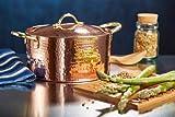 New DEMMEX 1.2MM Thick Hammered Copper Soup Pot Stew Pan Casserole, 3.4 Quart (3.8 Quart)