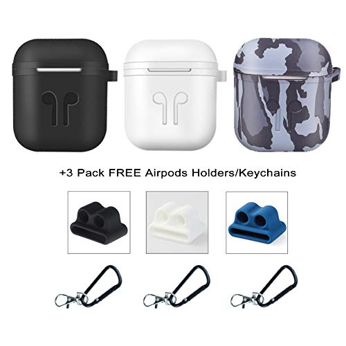 Five Star Online Compatible with Air Pods Case Earpods Cases Protective Cover Silicone Skin, 9 in 1 Accessories with Keychains Carabiners Holders for Earpods Case (Black,White & Camouflage)