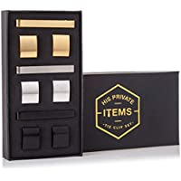 His Private Items Cufflinks and Tie Clip Set - 3 Couples - Gift Box