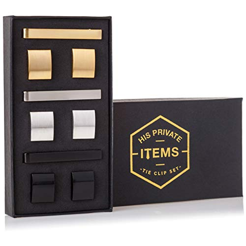 His Private Items Cufflinks and Tie Clip Set - 3 Couples - Gift Box (Gold Silver ()