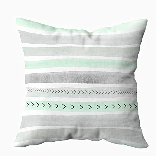 EMMTEEY Home Decor Throw Pillowcase for Sofa Cushion Cover, mint green gray watercolour stripes arrows pattern Decorative Square Accent Zippered and Double Sided Printing Pillow Case Covers 18X18Inch
