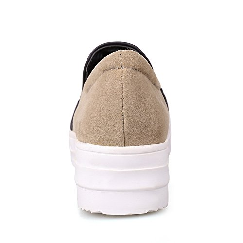 Ladies Oxfords Shoes Round Platform Beige On Fabric Toe Pull BalaMasa 7qw1dS7