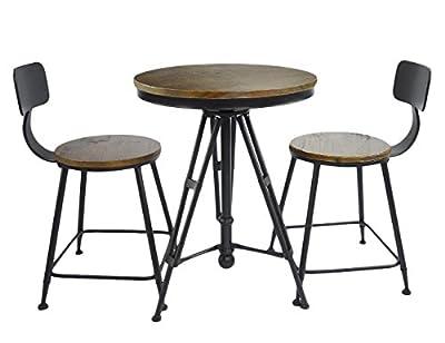 Vilavita Round Wood Bar Table and Bar Stools Dining Chair Sets, Retro Finish