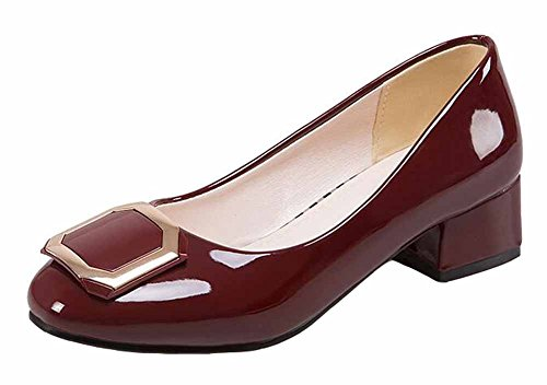 SHOWHOW Women's Stylish Square Buckle Solid Round Toe Low Top Slip On (Casual Square Buckle)