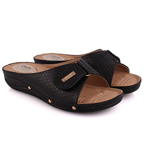 Unze Damen Damen Ciat Klettverschluss Komfortable Open Toe Slip auf Low Heeled Casual Hausschuhe Schuhe Größe 3-8 - 0381-60 Schwarz