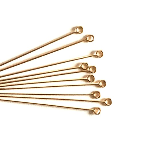Imagine If. 100 pcs 14k Gold Filled Eye Pins 2 inch, 22ga 22 Gauge Wire Connector/Findings / Yellow Gold ()