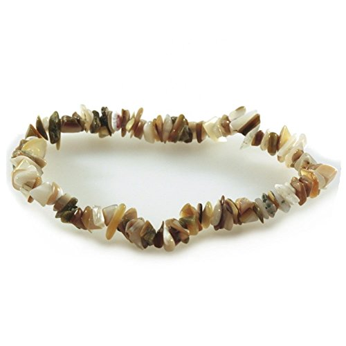 Mother of Pearl Stretch Chip Bracelet Brown Tan and Cream Colors - Fair Trade (Of Mother Pearl Tan)