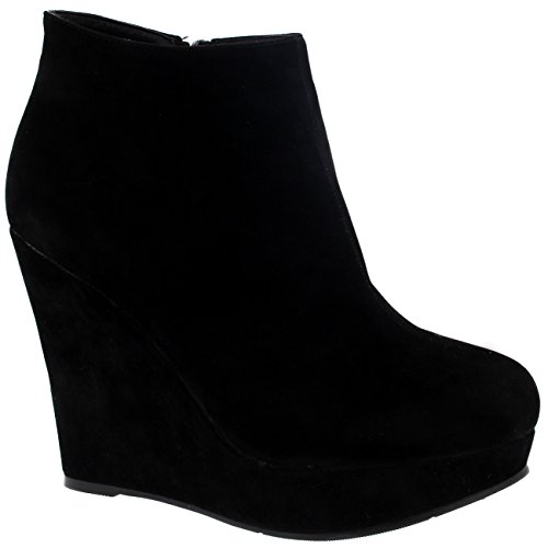 (Project 309 Womens High Wedge Heel Black Party Ankle Boot Platform Zipper Shoes Boot - Black - 9-40 -)