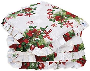 Set 4 Cuscini Copri Sedia con Riccio Fantasia Natale MOD