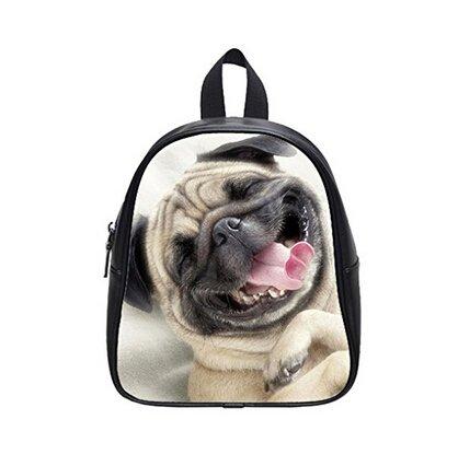 Largeサイズパグ犬面白い犬印刷バックパックカスタム高校生バックパック旅行やパーティー用 B018FCL53U