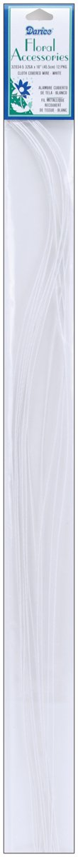 Darice 32034-5 32 Gauge Cloth Covered Stem Wire, 18, White, 12 Pack 18