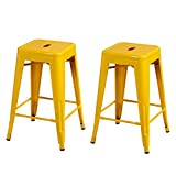 Joveco 24 Inches Sheet Metal Frame Tolix Style Industrial Chic Chair Backless Bar Counter Stools - Set of 2 (Yellow) Wholesale Price Available