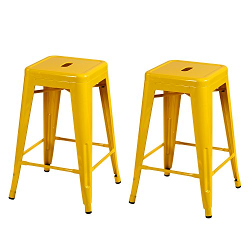 French Style Counter Stool (Joveco 24 Inches Sheet Metal Frame Tolix Style Industrial Chic Chair Backless Bar Counter Stools - Set of 2 (Yellow) Wholesale Price Available)