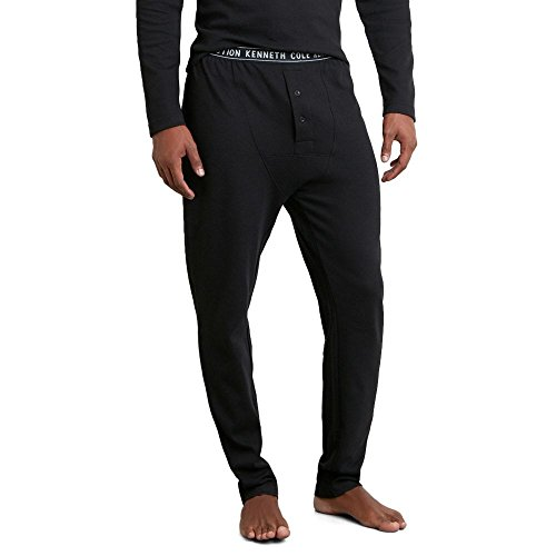Kenneth Cole REACTION Men's Straight Leg Waffle Pant, Black, L by Kenneth Cole REACTION