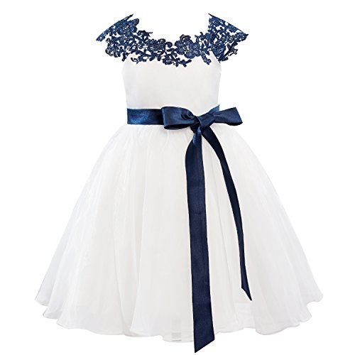 Dresslane Navy Blue Lace Ivory Organza Flower Girl Dress Kids Dress -