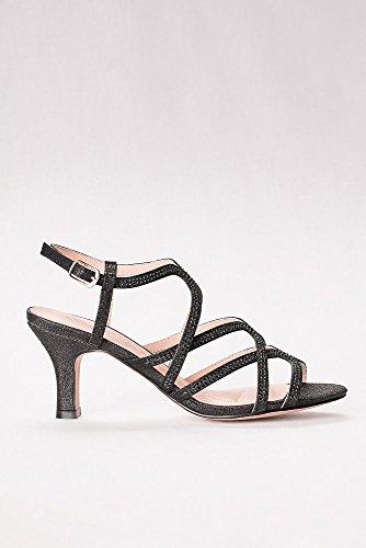Davids Bridal Mid Heel Cage Sandals Style CRYSTAL-26 Black Iw2YYOk