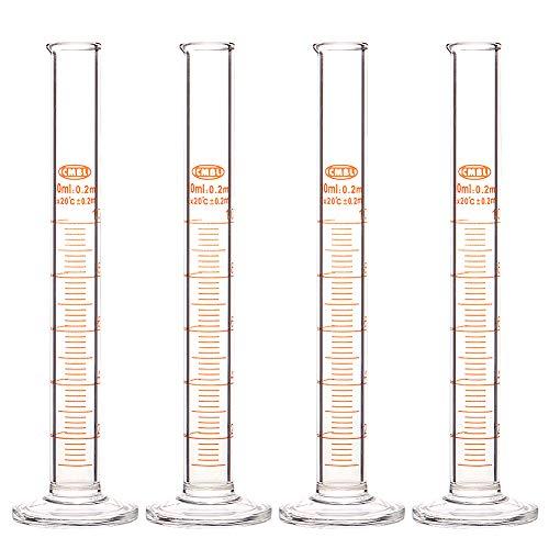 StonyLab 4-Pack Borosilicate Glass 10ml Heavy Wall Graduated Cylinder Measuring Cylinder - 10ml ()